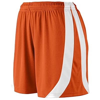 Augusta Sportswear Big Girl's Triumph Short, ORANGE/WHITE, Small