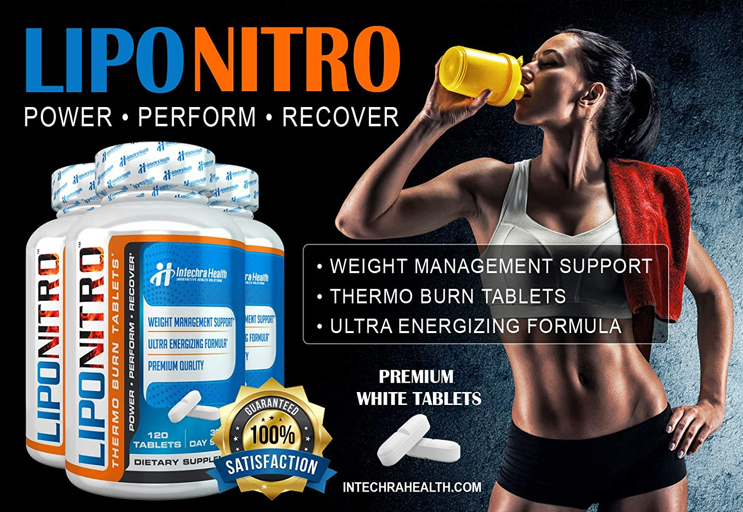 LipoNitro Maximum Strength Thermo-Burn Diet Pills with Nitro Energy – Scientifically Researched Ingredients – Highest Quality Dietary Supplement Manufactured in USA – 120 Tablets