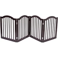 Internet's Best Pet Gate with Arched Top - 4 Panel - 24 Inch Step Over Fence - Free Standing Folding…