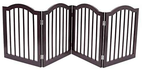 Internet s Best Dog Gate with Arched Top – 4 Panel – 24 Inch Step Over Fence – Free Standing Folding Z Shape Indoor Doorway Hall Stairs Pet Puppy Gate – Fully Assembled – Espresso – MDF