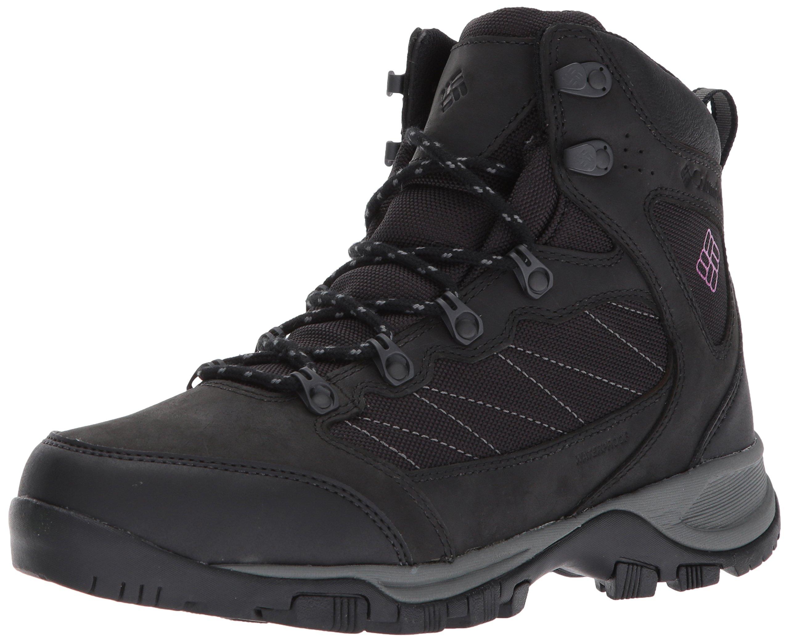 Columbia Women's Cascade Pass Waterproof Hiking Boot, Black, Intense Violet, 9.5 Regular US