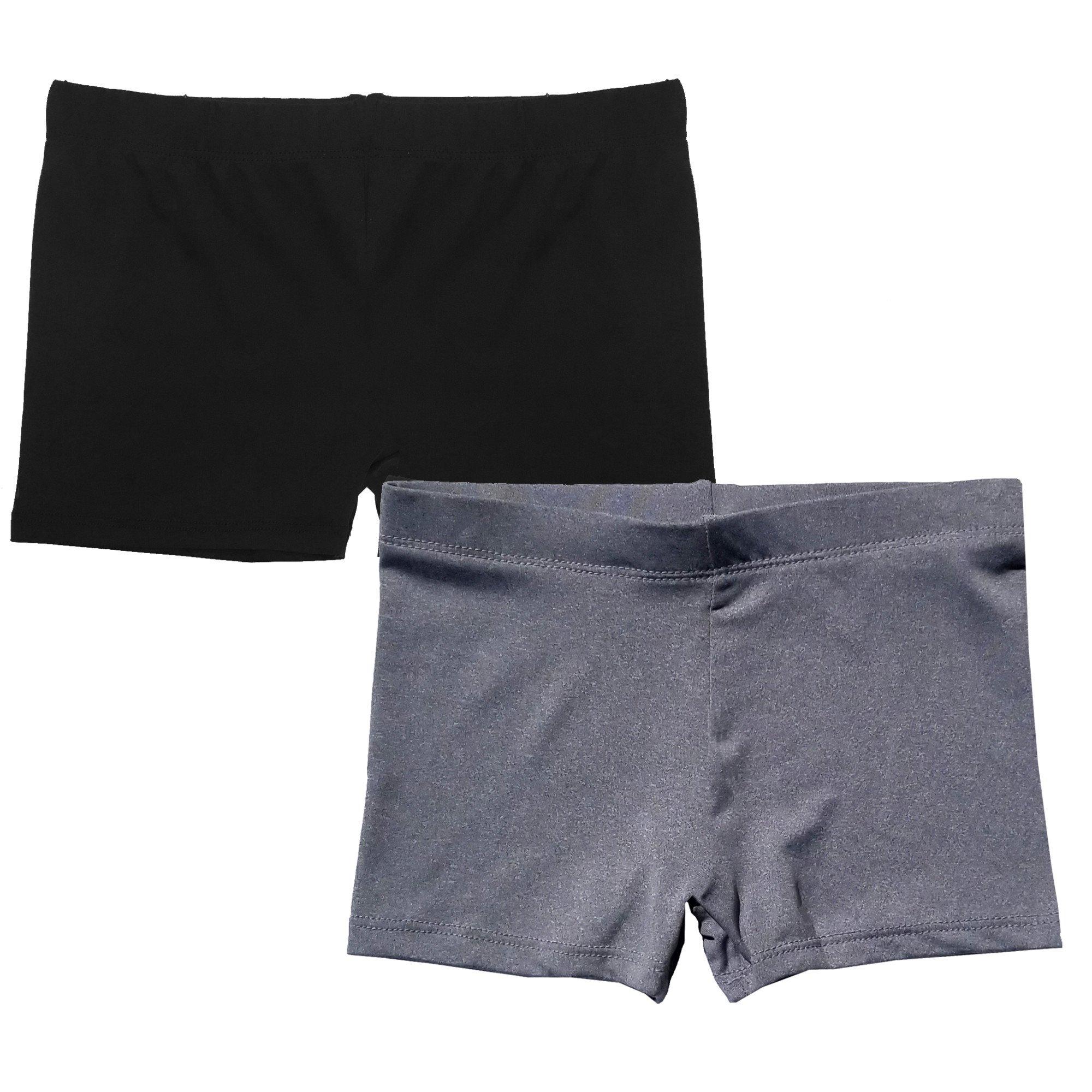 Popular Girl's Premium Playground Shorts - 2 Pack - Black and Grey - S
