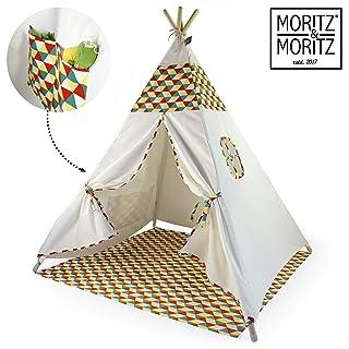 Moritz & Moritz Tenda Indiani Bambini - Tenda Teepee Bambini - con Pavimento e Finestra - Teepee per Casa e Giardino (Colorato)