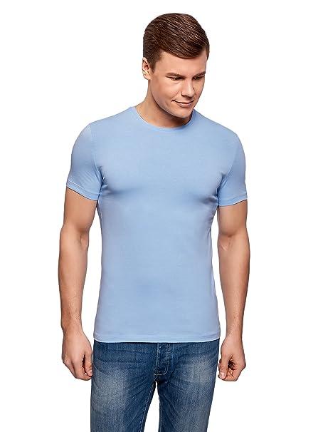 oodji Ultra Herren Tagless T-Shirt Basic Aus Baumwolle, Blau, XS
