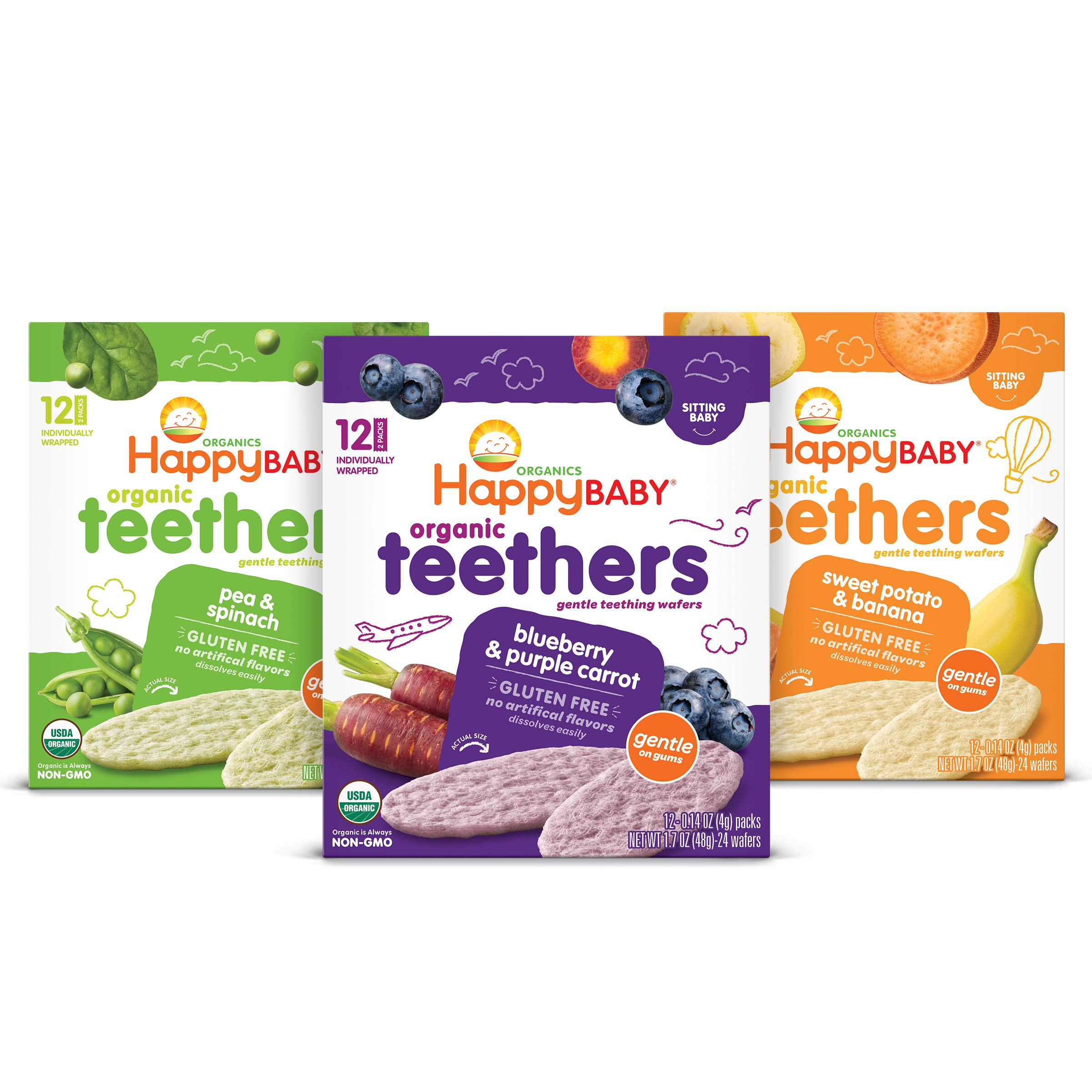 Happy Baby Organics Gluten Free Organic Teethers 3 Flavor Variety Pack
