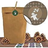"""24 Kraftpapiertüten mit 24 weihnachtlichen Aufklebern """"Bunte Weihnachten"""" zum Verschließen als Weihnachts-Geschenktüte zum Basteln und Befüllen"""