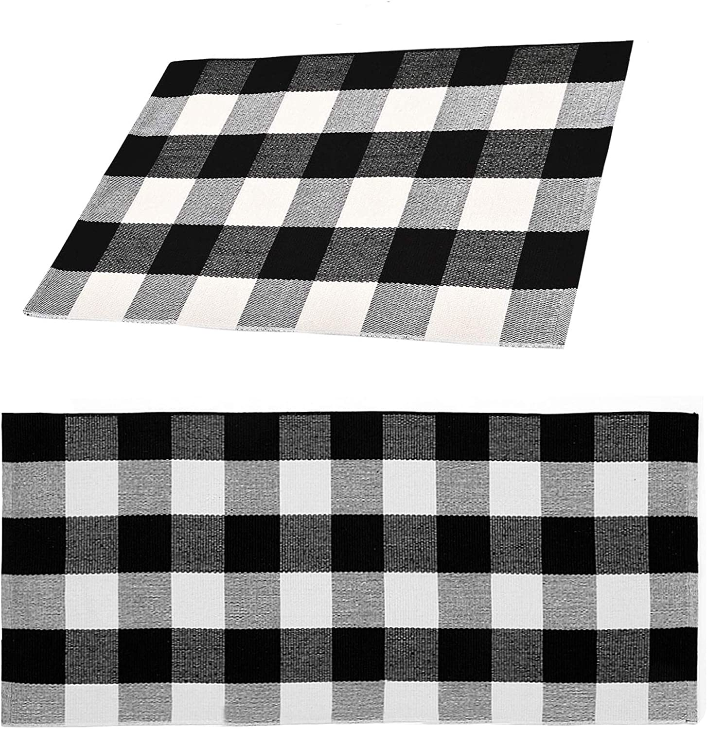 Winwinplus Buffalo Plaid Rug, Cotton Washable Woven Indoor Outdoor Rugs for Layered Door Mats Porch/Kitchen/Farmhouse Rug, Set of 2, 2'x3' + 2'x4.2' Black and White