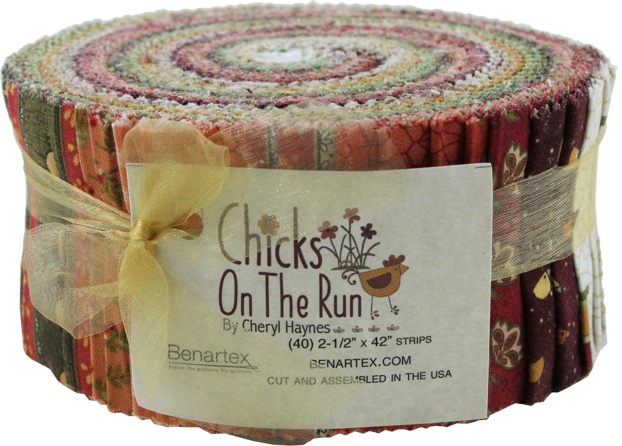 Cheryl Haynes Chicks on the Run Pinwheel 40 2.5-inch Strips Jelly Roll Benartex, Assorted by Benartex (Image #1)