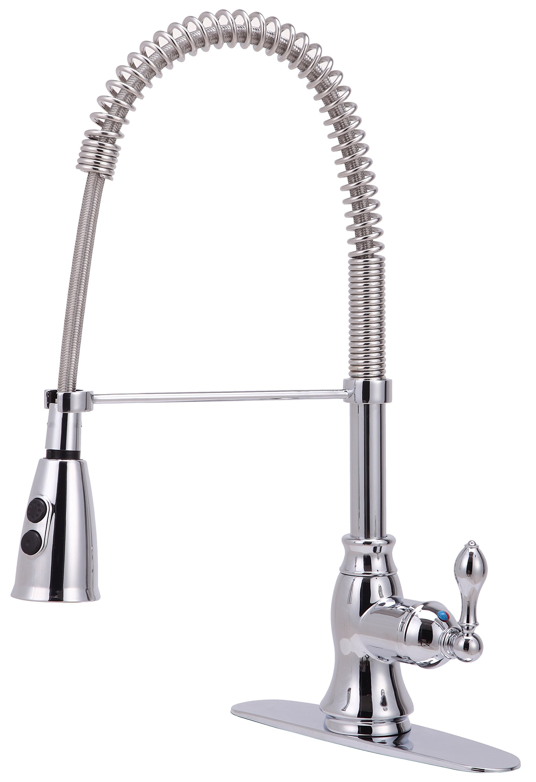 Derengge KF-5988-CP Single Handle Spring Spout Kitchen Faucet with Pull-Down Sprayer, 1 Hole or 3 Hole Installation, Meets cUPC NSF61-9 and AB1953 Lead Free Standard, Chrome
