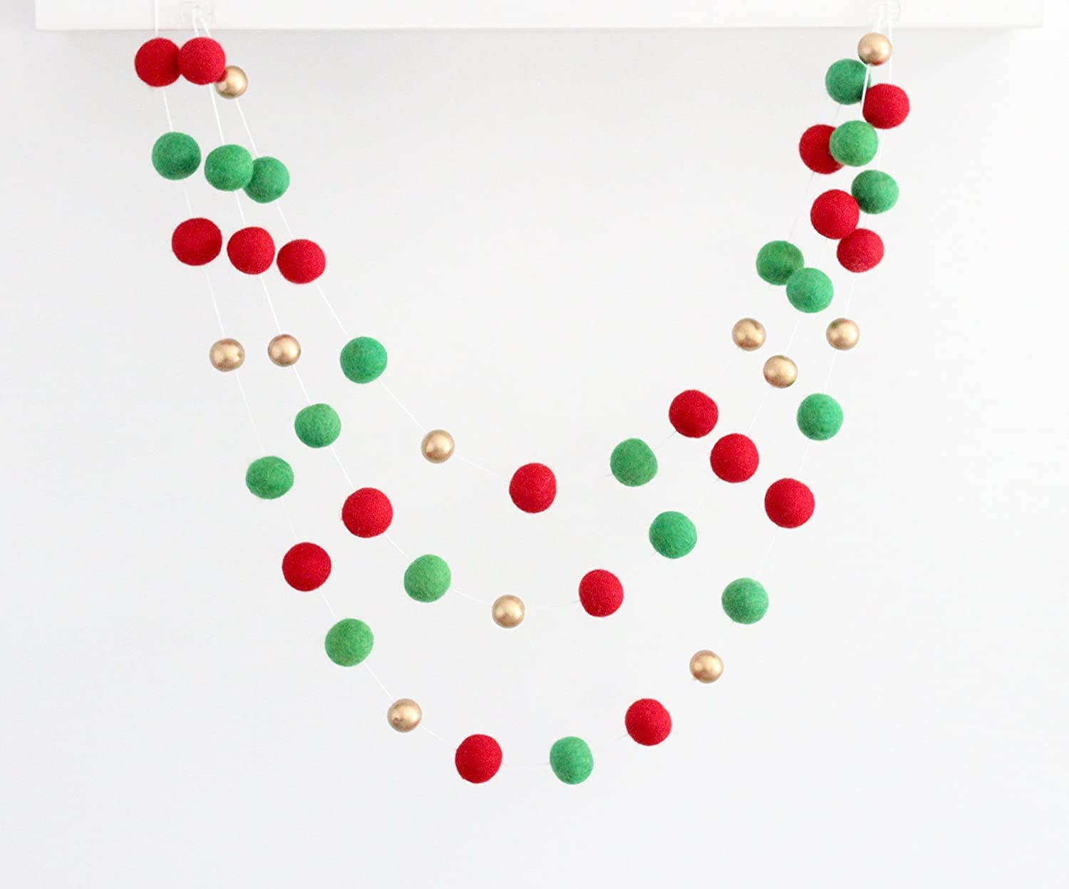 Amazon Com Holly Jolly Gold Handmade Felt Ball Christmas Garland