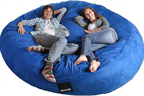 SLACKER sack 8 Feet Round Royal Blue XXXL Foam Bean Bag Chair Microfiber Suede Giant like LoveSac Biggest Beanbag