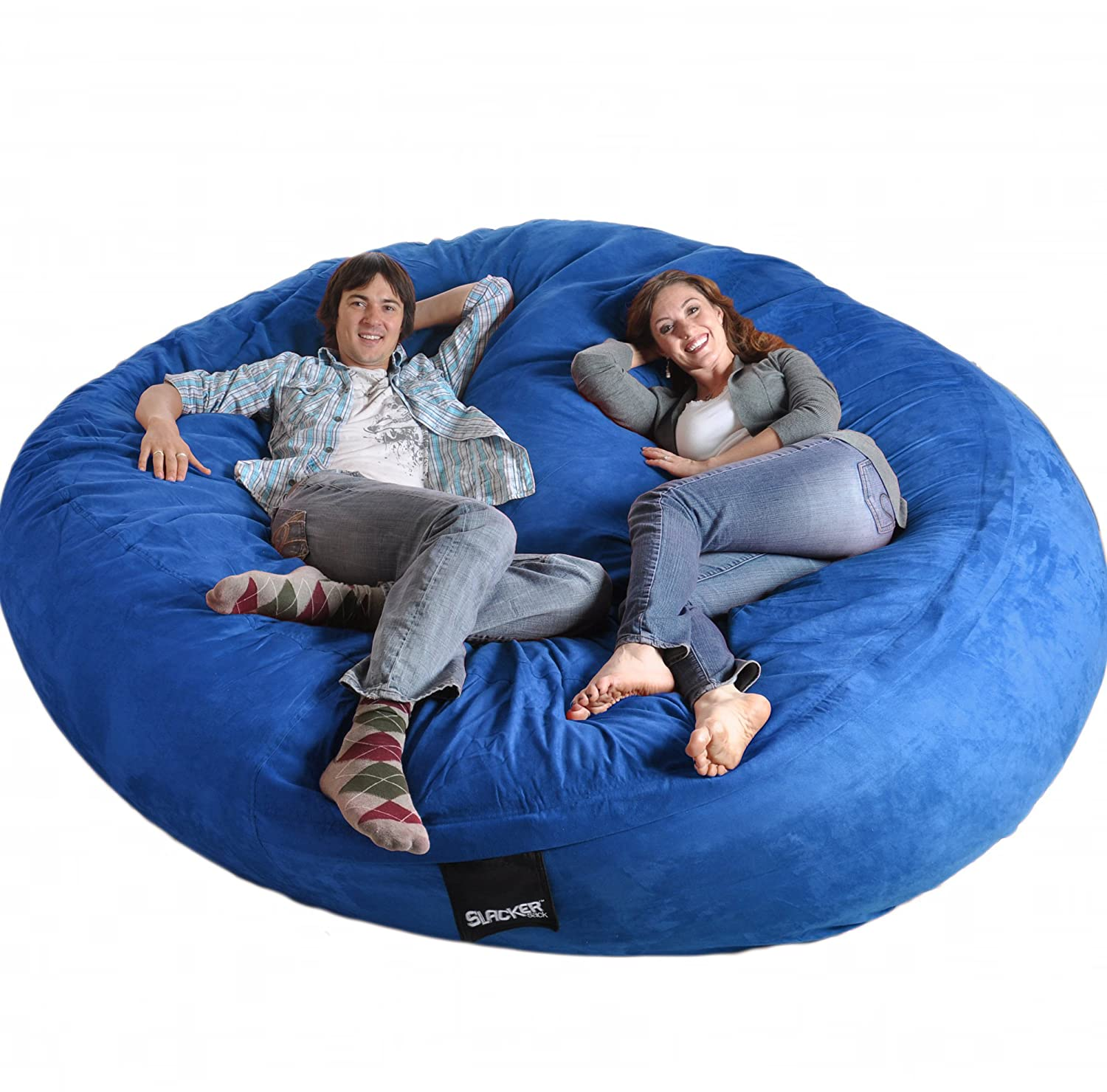 Amazon 8 Feet Round Royal Blue XXXL Foam Bean Bag Chair Microfiber Suede Giant SLACKER Sack Like LoveSac Biggest Beanbag Kitchen Dining