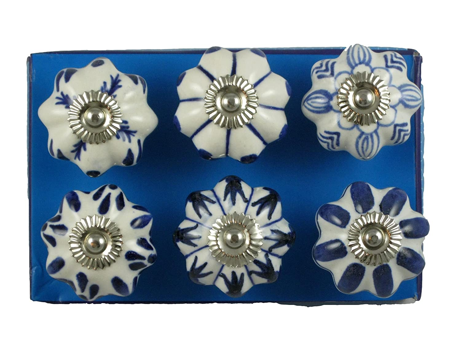 Jaipur Market 6 Count Decorative Ceramic Drawer Pull Knobs Blue and White