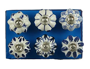 jaipur market 6 count decorative ceramic drawer pull knobs blue and white - Decorative Drawer Pulls