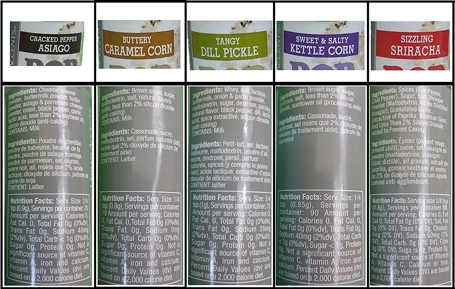 Gourmet Popcorn Seasoning Variety Pack, All Natural (6 Flavors) - Dill Pickle, White Cheddar, Caramel, Kettle Corn, Sriracha, Cracked Pepper Asiago (Magnet Included) by MagZen (Image #3)