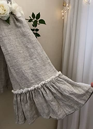 Linen Bath Towel With Frills In Natural Flax Linen Farmhouse Decor Bath  Towel Bathroom Towels Towel