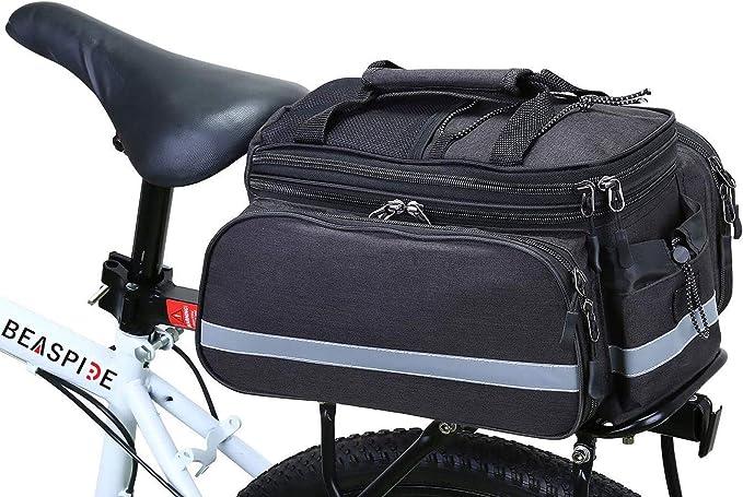 15L Bike Rear Seat Bag Rack Trunk Basket Pannier Bag Cycling Luggage Storage Case Shoulder Handbag Walmeck
