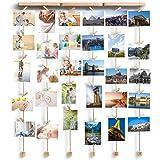 Love-KANKEI Cadre photo en bois avec 30 petites pinces en bois, Family, 29*19 inch