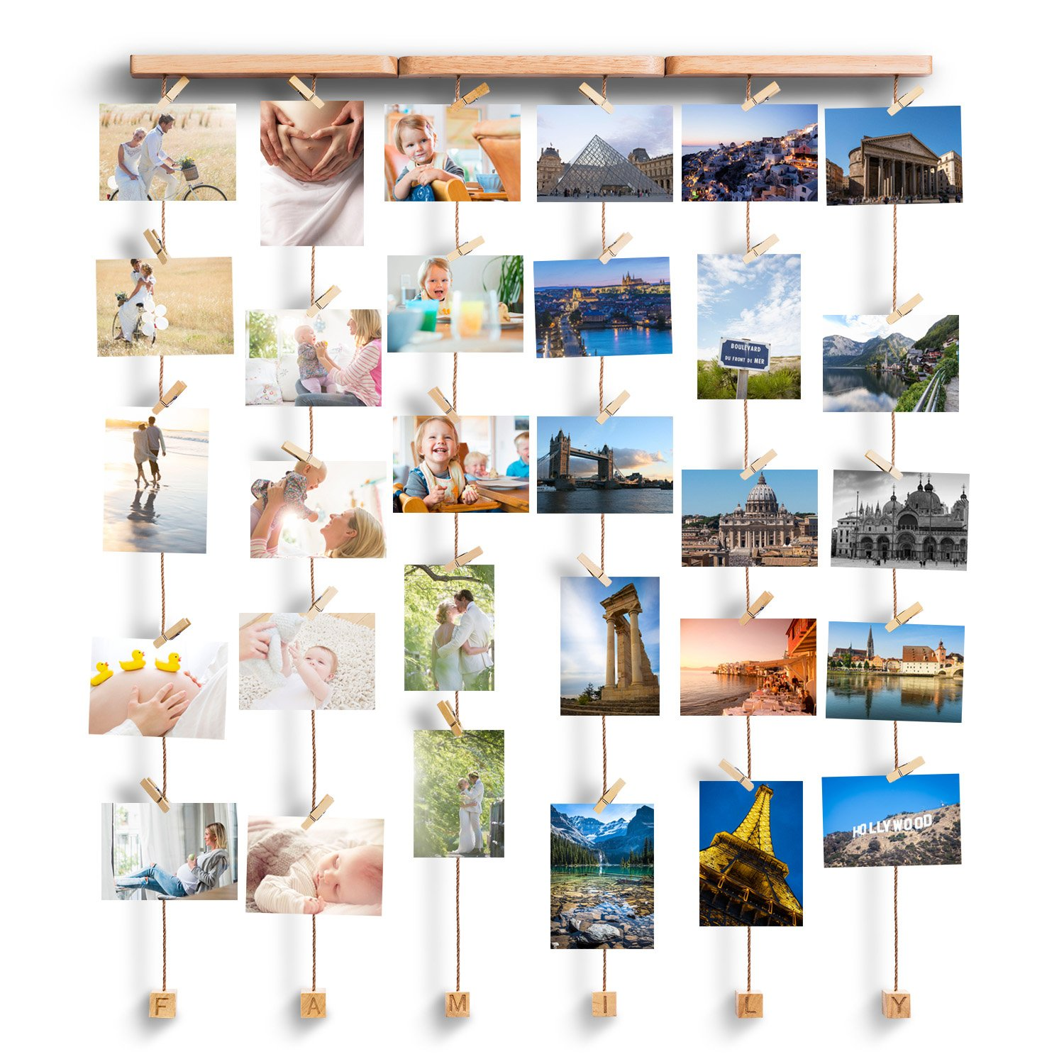 Love-KANKEI Family Picture Frame Collage Picture Frame for Wall Hanging Display 30 Pegs for Mixed Size Picture by Love-KANKEI