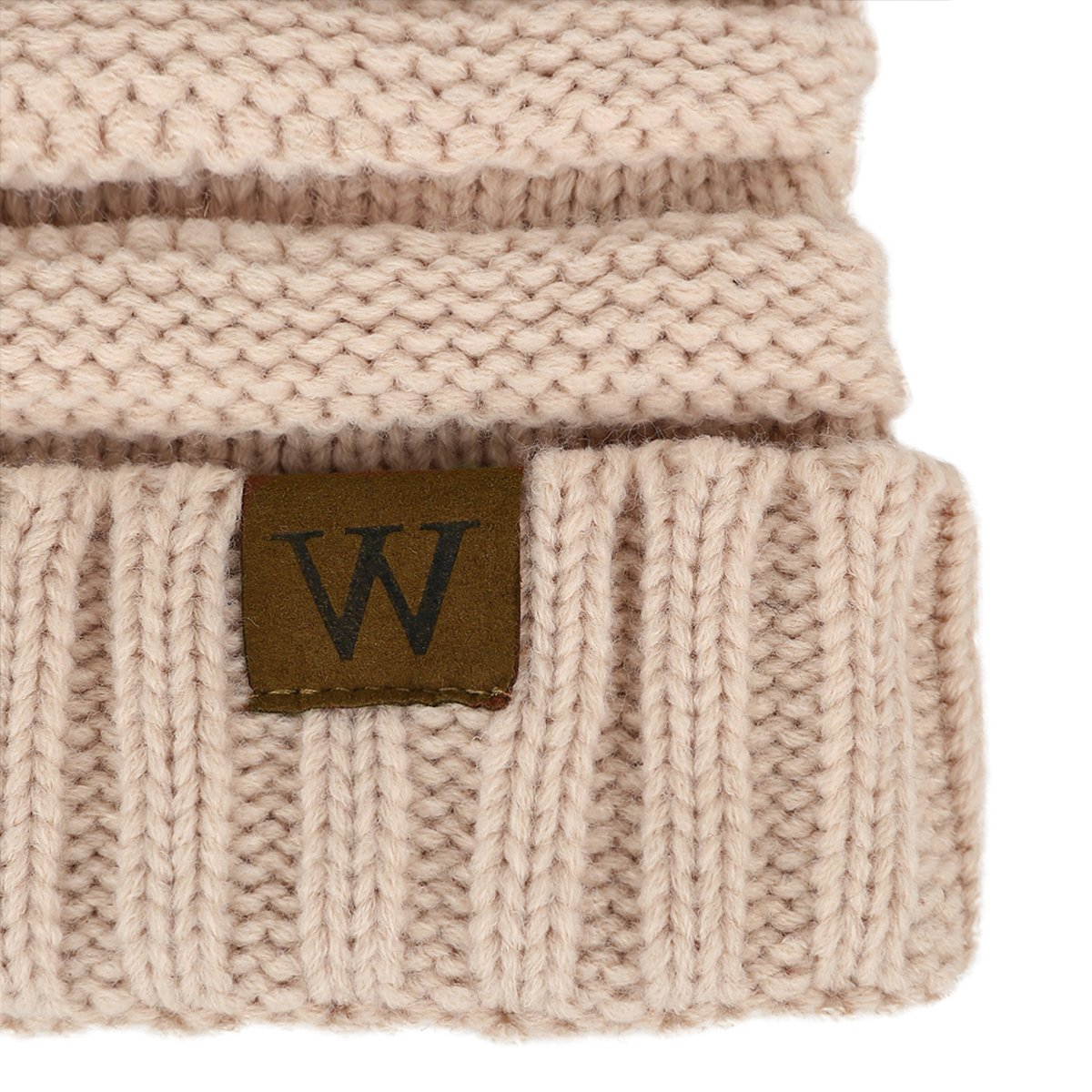 EVRFELAN Soft Winter Warm Knitting Hat Cable Beanie Solid Daily Slouchy Hats Skull Cap (Beige)