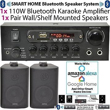 110 W Bluetooth Amplificador/amplificador y 2 altavoces de pared en ángulo – Compacto/