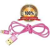 R&G GOLD PLATED Iphone, Ipad & Ipod Fast Charging Pure Copper Metallic 1.2m Braided Charging & Data Cable - Pink