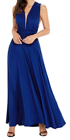 EasyMy Womens Long Navy Maxi Dress Convertible Wrap Cocktail Prom Dress
