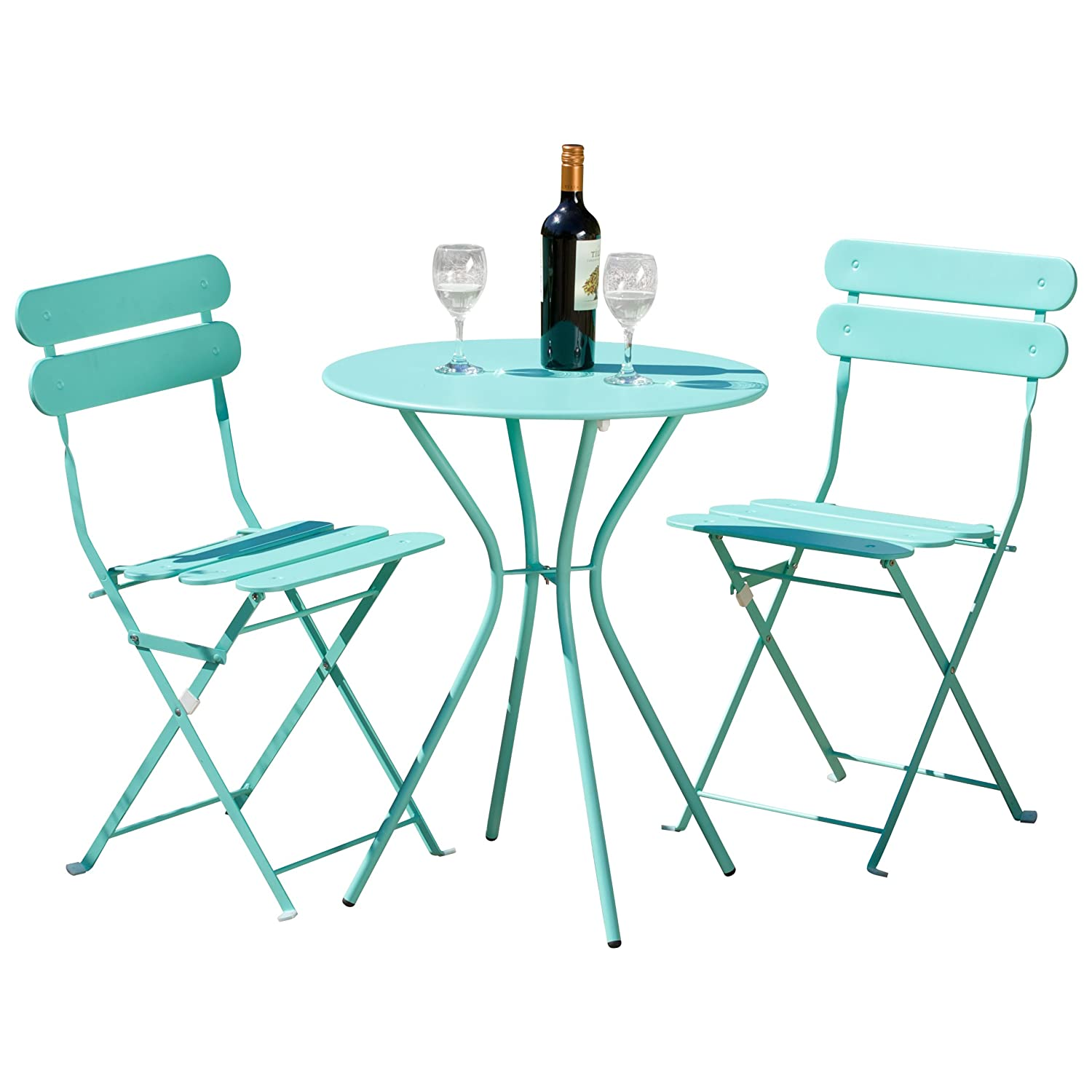 Amazon RST Brands Sol 3 Piece Bistro Set Blue Patio Lawn