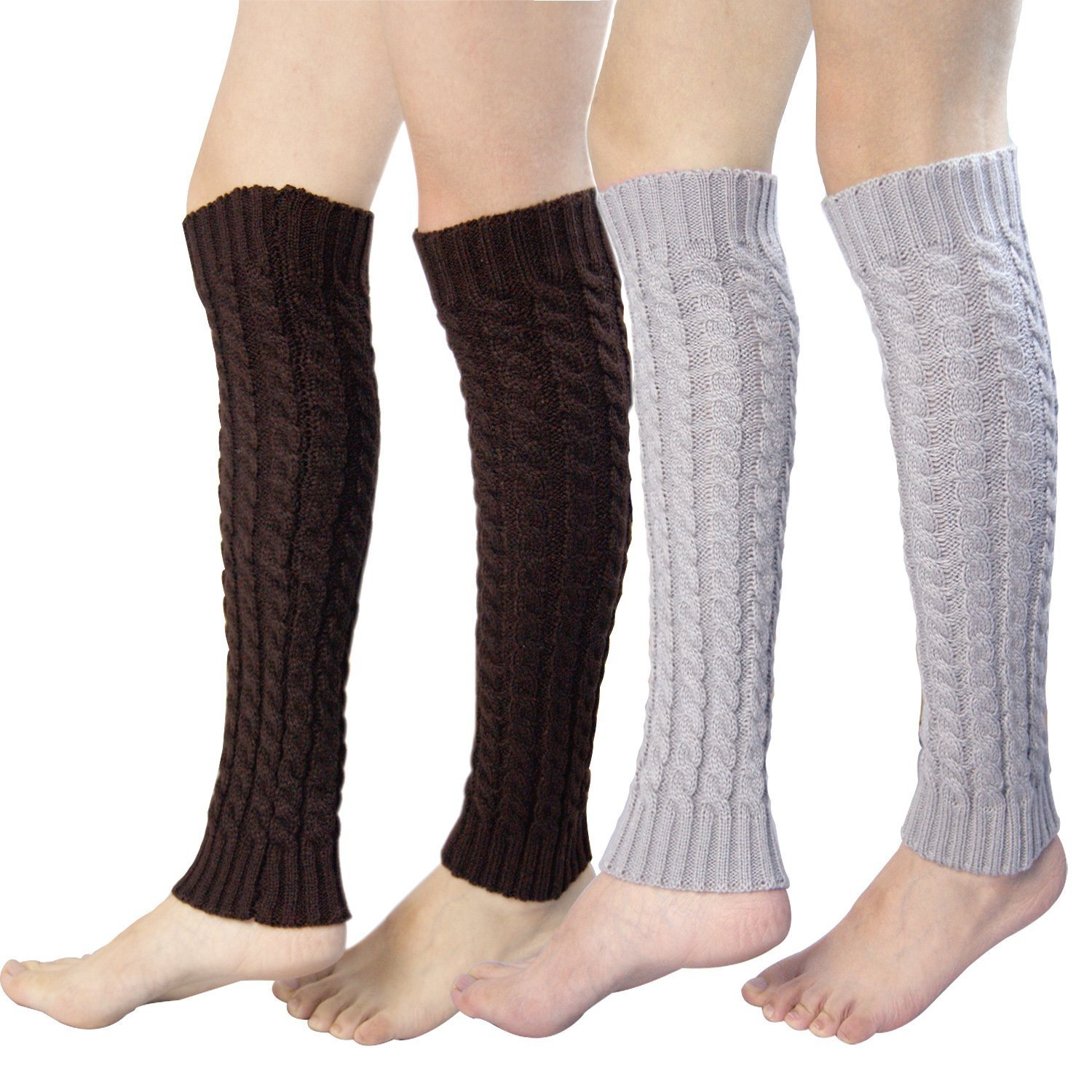 2 Pairs Womens Leg Warmers, Cable Knit Crochet Ankle Knee Warmers Boot Socks B07GSTWXMF
