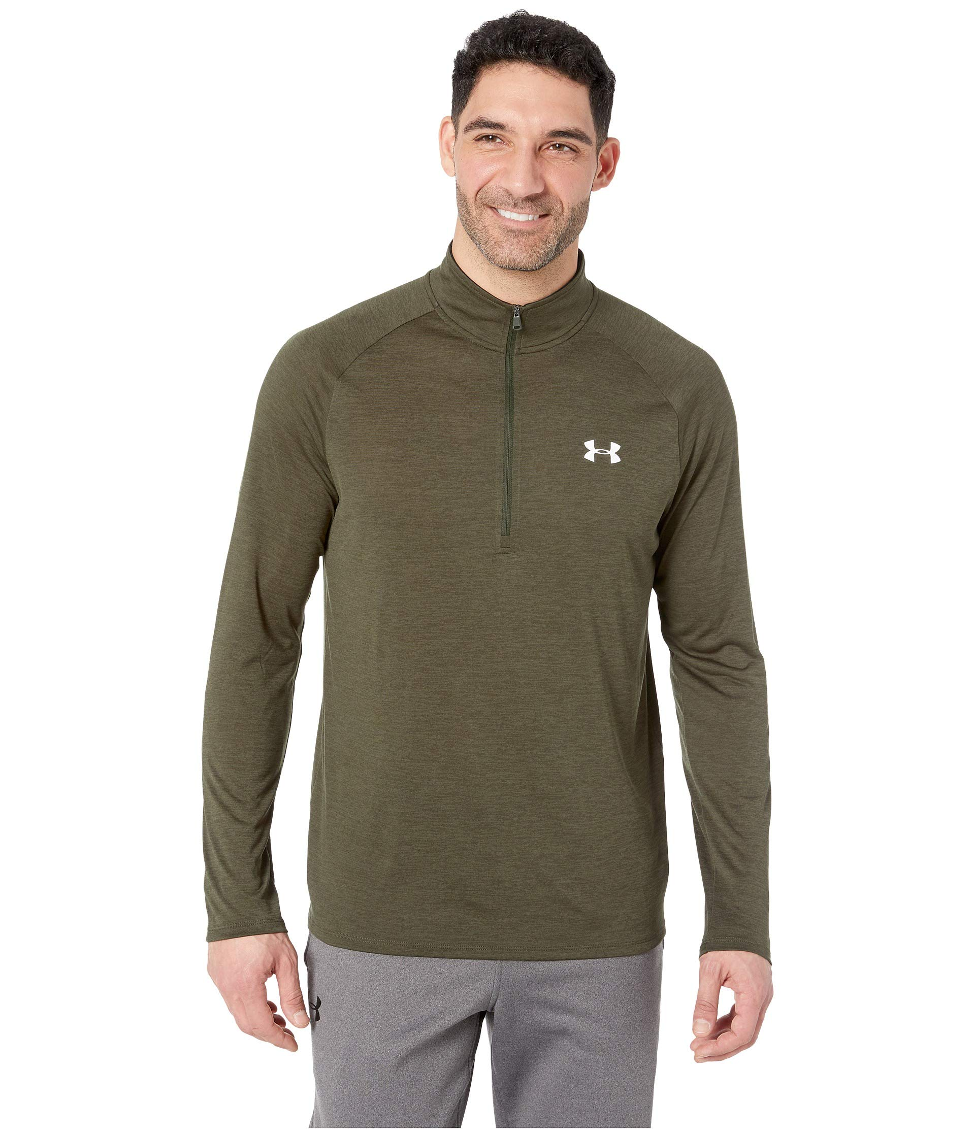 Under Armour Men's UA Tech 1/2 Zip Artillery Green/White Small by Under Armour