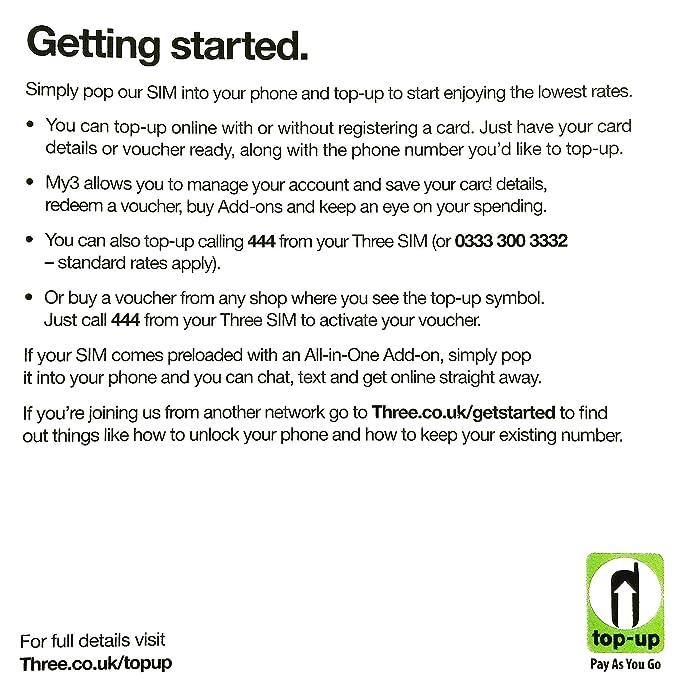 Europe (UK) prepaid sim with 42 countries - Three SIM Card with £20 Credit  300min+300texts+12GB data (Europe Prepaid Sim) 42 Destinations! 3 sim!