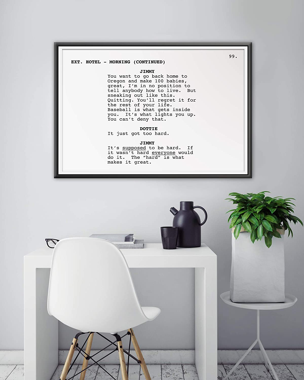 Tom Hanks Movie up to full-size 24 x 36 Script A League of Their Own Screenplay POSTER! Acting Film Geena Davis - Minimalist