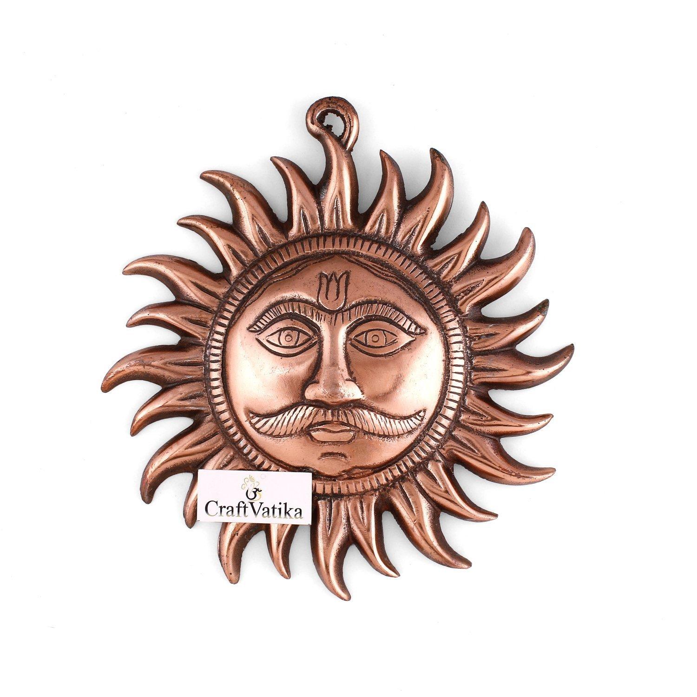 CraftVatika God Sun Metal Wall Hanging Sculpture | Hindu Idol Lord Surya Dev Home Decor Lucky Decorative Wall Art DFMW113