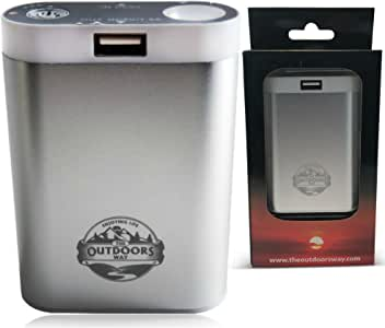 The Outdoors Way Electric Hand Warmer, Rechargeable Accessory for Hunting and Winter Sports. Handwarmer Includes Phone Charger + LED Flashlight + Carry Pouch+ 2 Colors Options.