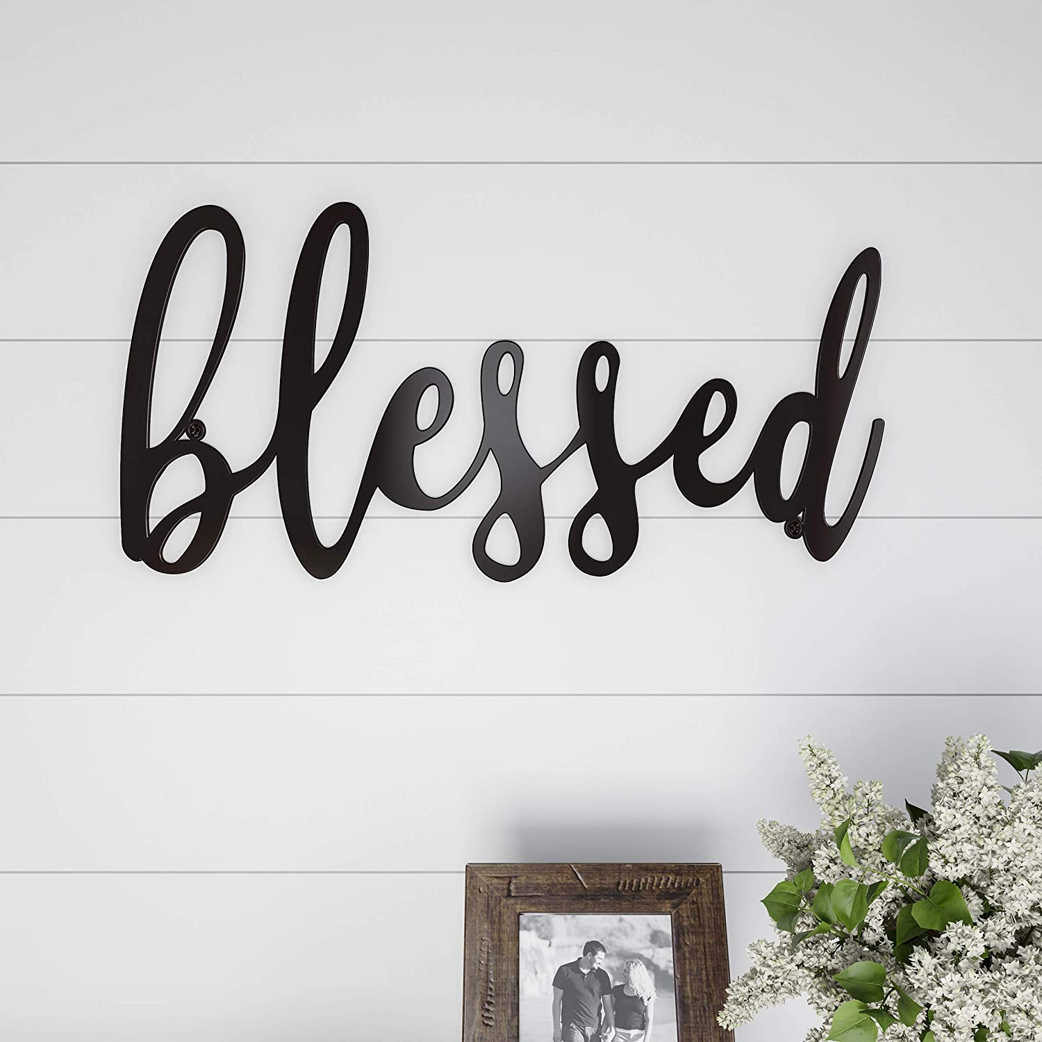 Lavish Home Metal Cutout-Blessed Wall Sign-3D Word Art Home Accent Decor-Perfect for Modern Rustic or Vintage Farmhouse Style