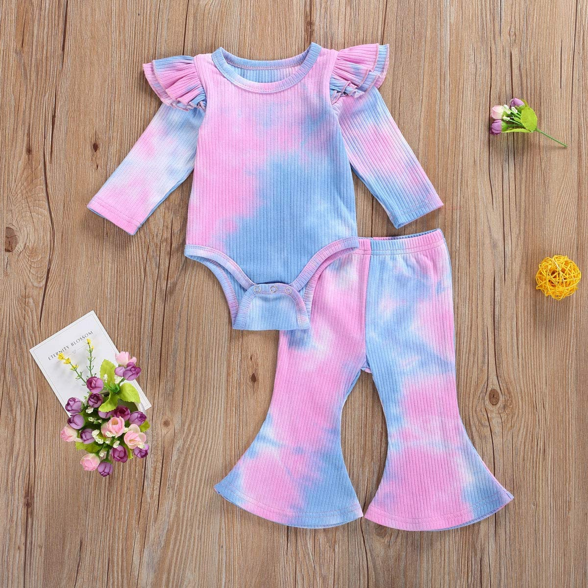Flare Pants 2Pcs Clothes Set Newborn Baby Girl Bell Bottom Outfit Long Sleeve Romper Bodysuit Top