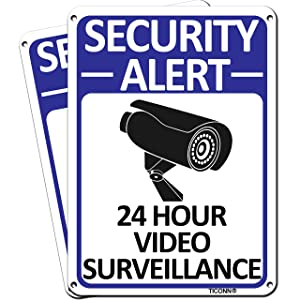 TICONN 2-Pack 24 Hour Video Surveillance Sign, Security Alert Aluminum Sign for CCTV Security Camera - Reflective, UV Protected & Waterproof