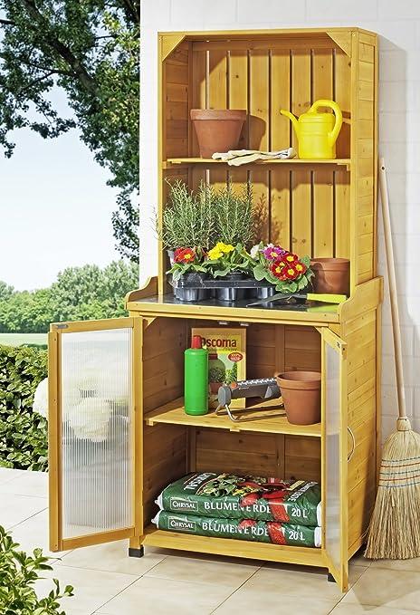 meloo Jardín Armario con estante Cobertizo caseta jardín casa mesa para macetas