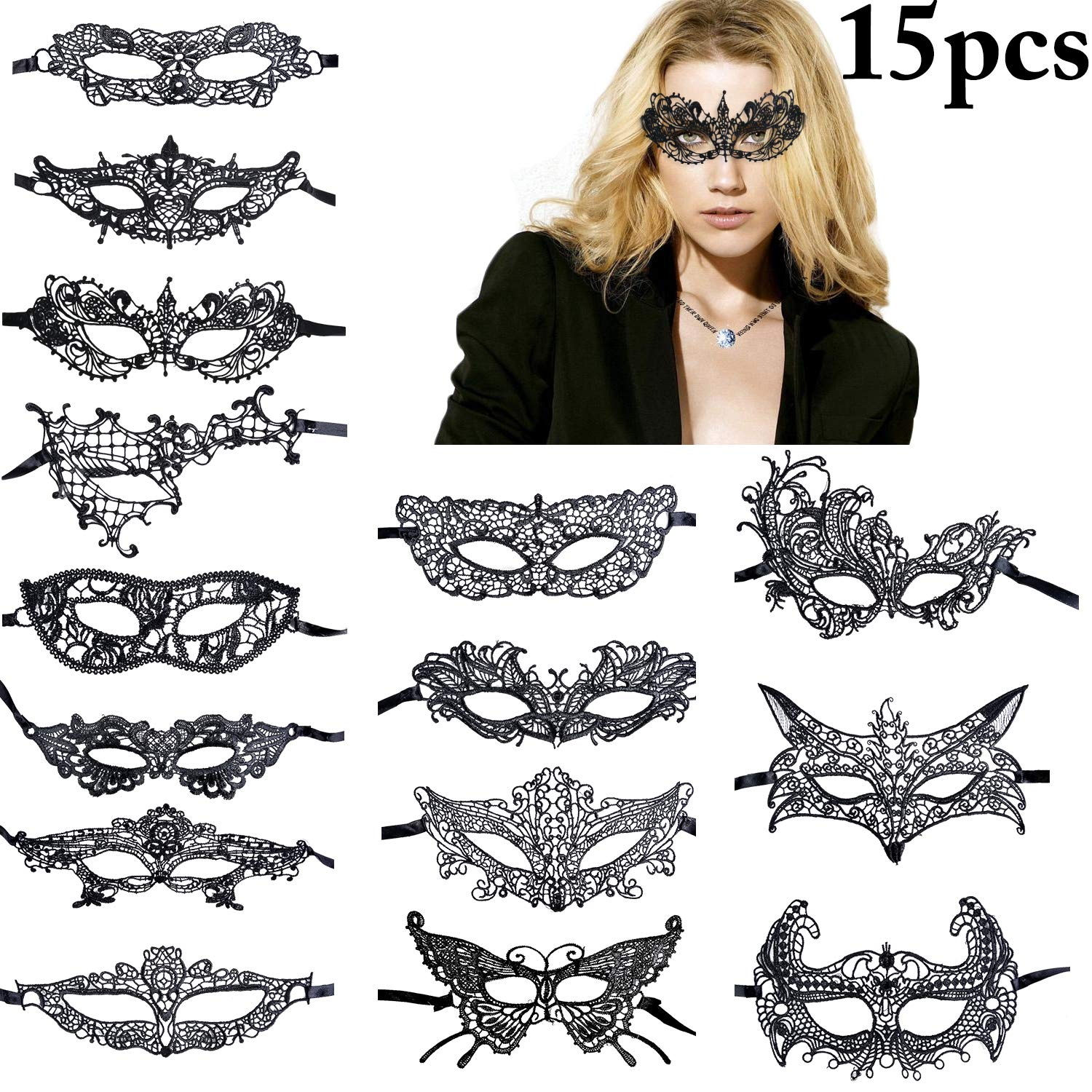 Coxeer 15 PCS Black Lace Mask Masquerade Mask Party Ball Dress Masks Costume Halloween Mask