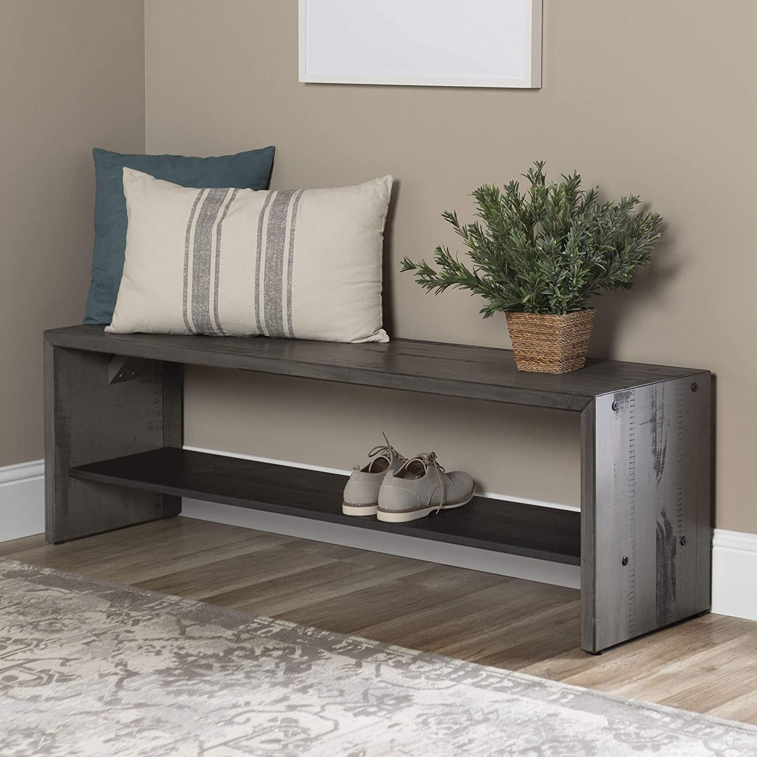 WE Furniture AZ58ALPGY Rustic Solid Wood Entryway Dining Bench, 58 Inch, Grey
