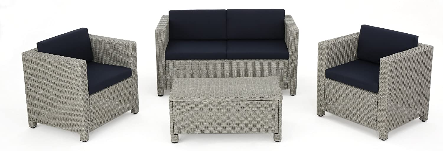 Christopher Knight Home Puerta Outdoor Wicker Chat Set with Water Resistant Cushions, 4-Pcs Set, Chalk / Navy Blue