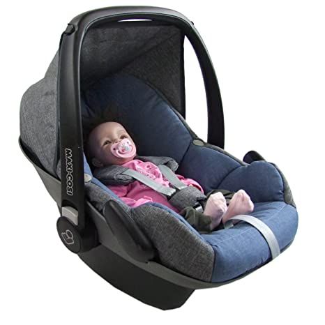 BAMBINIWELT Ersatzbezug für Maxi-Cosi PEBBLE 5-tlg, Bezug für Babyschale, Komplett-Set *NEU* GRAU/BLAU