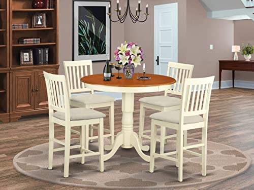 East West Furniture JAVN5-WHI-C 5-Piece Dining Room Set