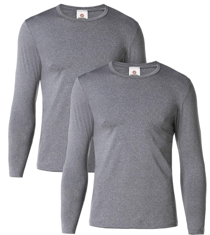 LAPASA Men's Lightweight Thermal Underwear Tops Fleece Lined Base Layer Long Sleeve Shirts 2 Pack M09 (X-Large, Dark Grey) by LAPASA