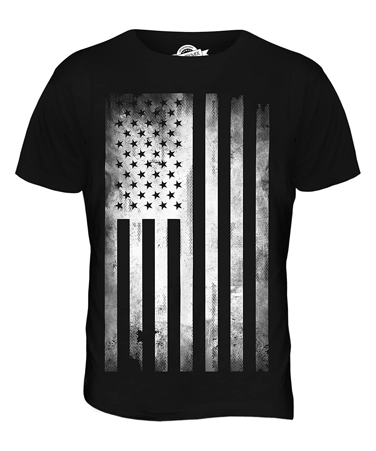 Black flag t shirt uk - Candymix Usa Stars And Stripes Faded Flag Print Mens T Shirt Top T