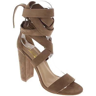 23532f8438e Glaze Open Toe Chunky Heel Sandal w Wrap Around Strap Lily11 (Taupe 7)