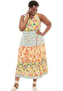 21fb4fd944c Woman Within Women s Plus Size Pintucked Floral Sleeveless Dress at ...