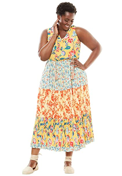 cea750c3b85 Woman Within Women s Plus Size A-Line Maxi Dress at Amazon Women s Clothing  store