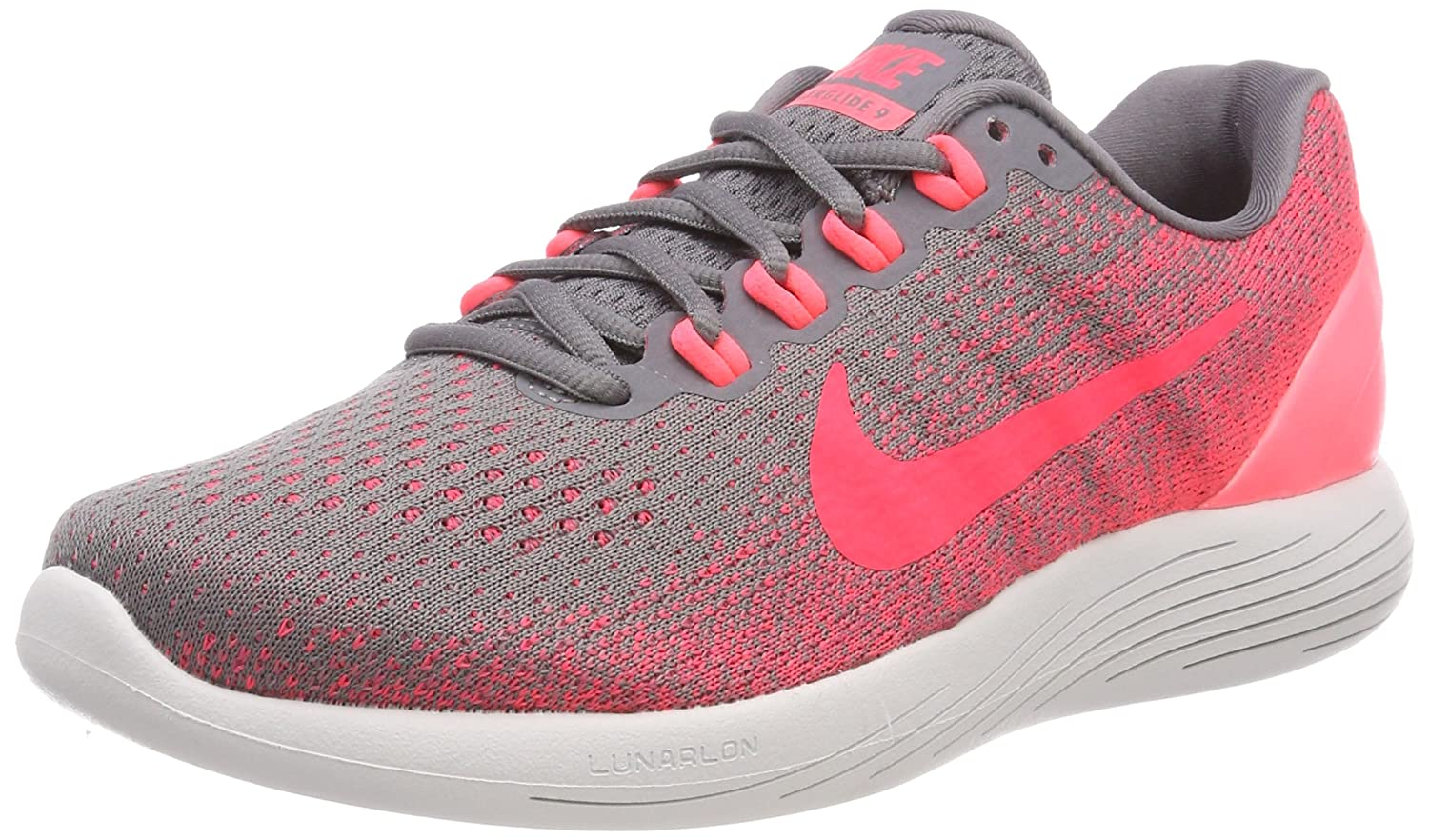NIKE Women's Lunarglide 9 Running Shoe B071K7B7C4 8 B(M) US|Gunsmoke/Solar Red/Hot Punch/Vast Grey