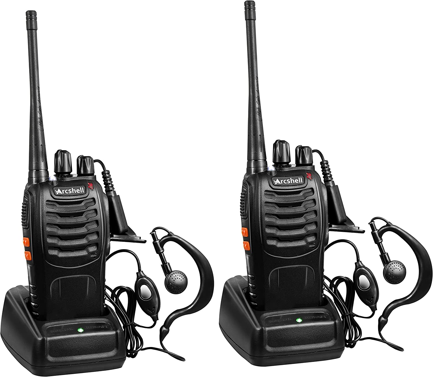 Arcshell Rechargeable Long Range Two-Way Radios with Earpiece 2 Pack UHF 400-470Mhz Walkie Talkies Li-ion Battery and Charger Included: GPS & Navigation